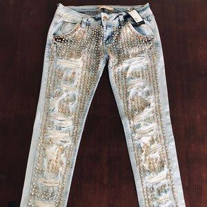 Dishe Jeans Light Wash 1200 Crystals Beaded Denim